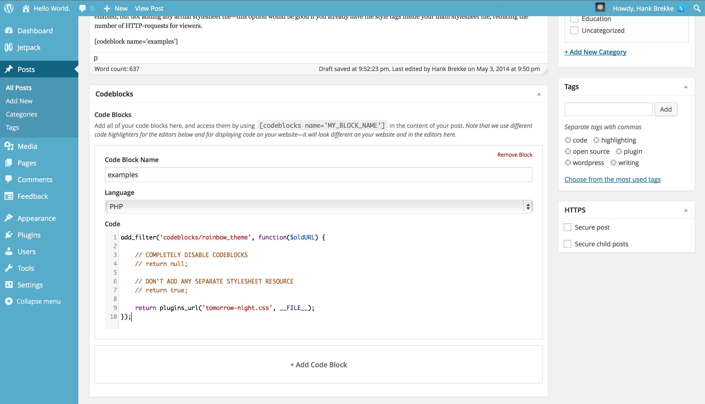 Codeblocks Admin