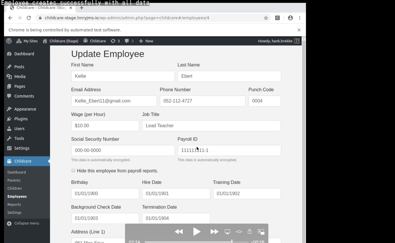 Screenshot of Selenium recording